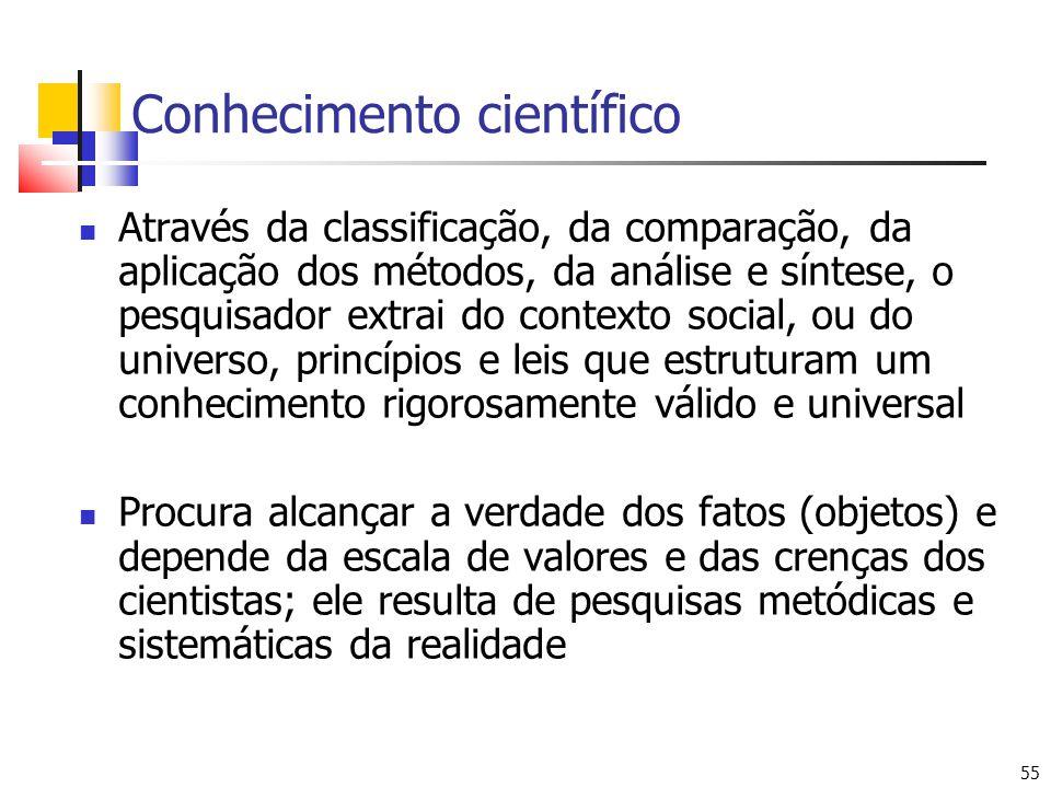 55 Conhecimento científico Através da classificação, da comparação, da aplicação dos métodos, da análise e síntese, o pesquisador extrai do contexto s