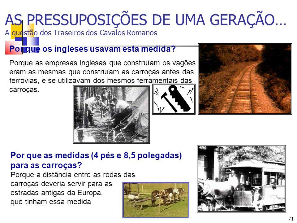 71 AS PRESSUPOSIÇÕES DE UMA GERAÇÃO… A questão dos Traseiros dos Cavalos Romanos Por que as medidas (4 pés e 8,5 polegadas) para as carroças.