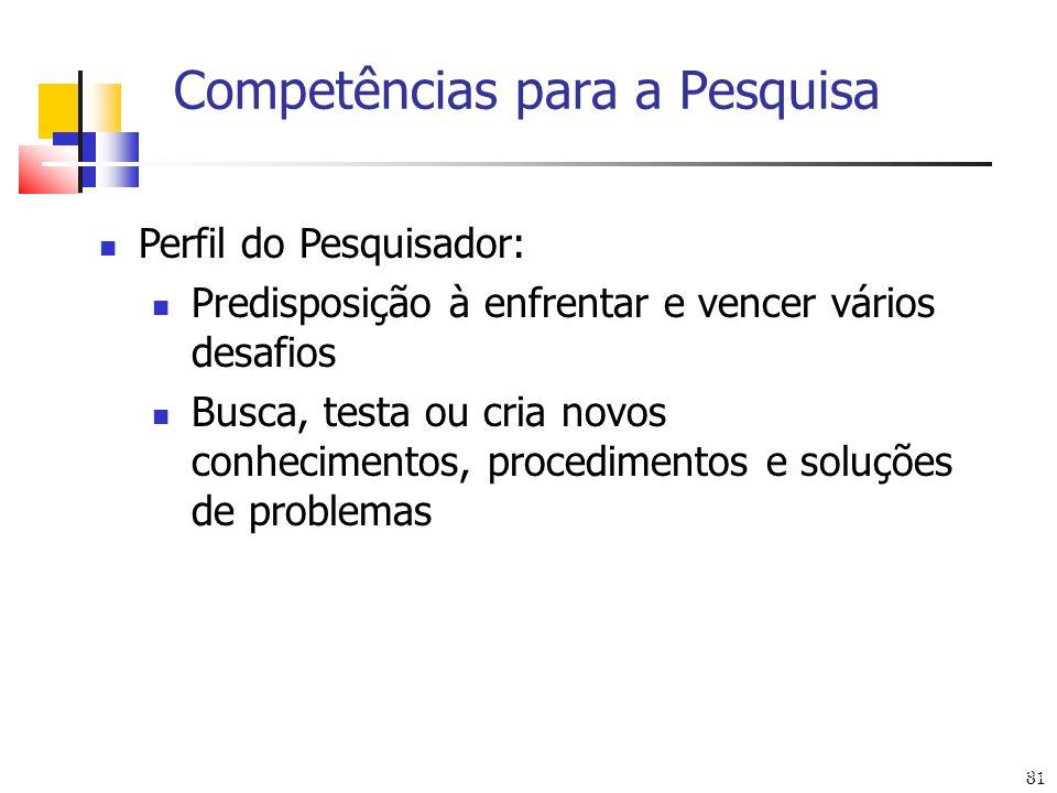 81 Competências para a Pesquisa Arte: Eduardo Ulysséa Perfil do Pesquisador: Predisposição à enfrentar e vencer vários desafios Busca, testa ou cria n