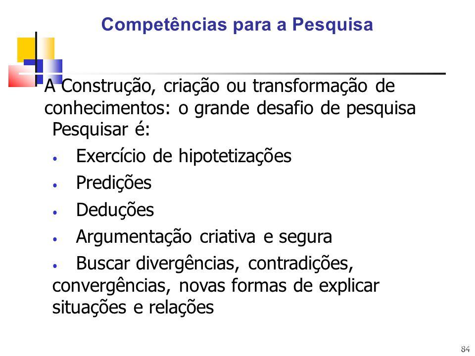84 Competências para a Pesquisa Arte: Eduardo Ulysséa A Construção, criação ou transformação de conhecimentos: o grande desafio de pesquisa Pesquisar
