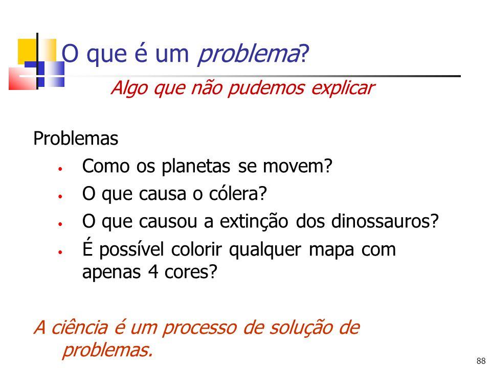 88 O que é um problema? Algo que não pudemos explicar Problemas Como os planetas se movem? O que causa o cólera? O que causou a extinção dos dinossaur