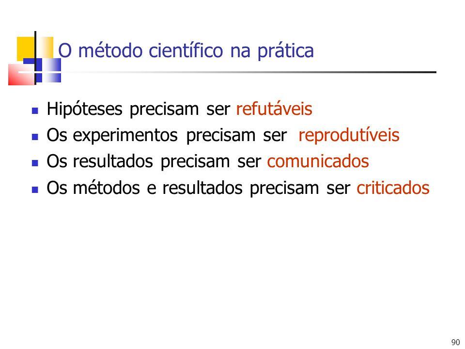 90 O método científico na prática Hipóteses precisam ser refutáveis Os experimentos precisam ser reprodutíveis Os resultados precisam ser comunicados Os métodos e resultados precisam ser criticados