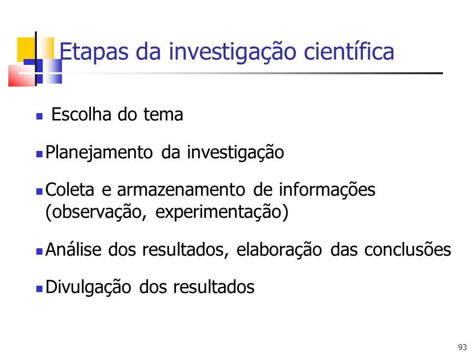 93 Etapas da investigação científica Escolha do tema Planejamento da investigação Coleta e armazenamento de informações (observação, experimentação) Análise dos resultados, elaboração das conclusões Divulgação dos resultados