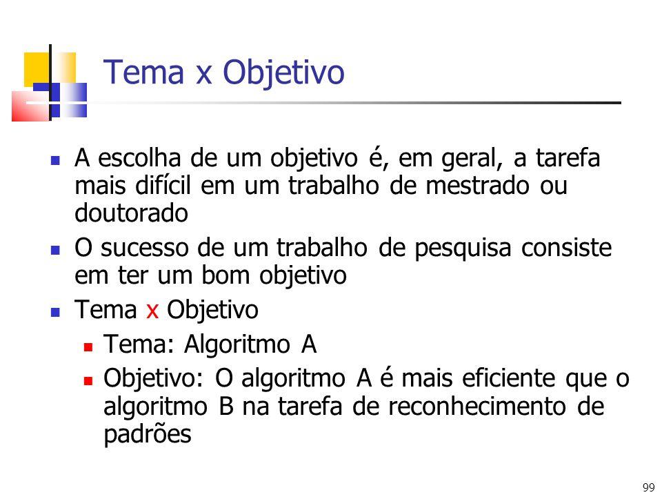 99 Tema x Objetivo A escolha de um objetivo é, em geral, a tarefa mais difícil em um trabalho de mestrado ou doutorado O sucesso de um trabalho de pes