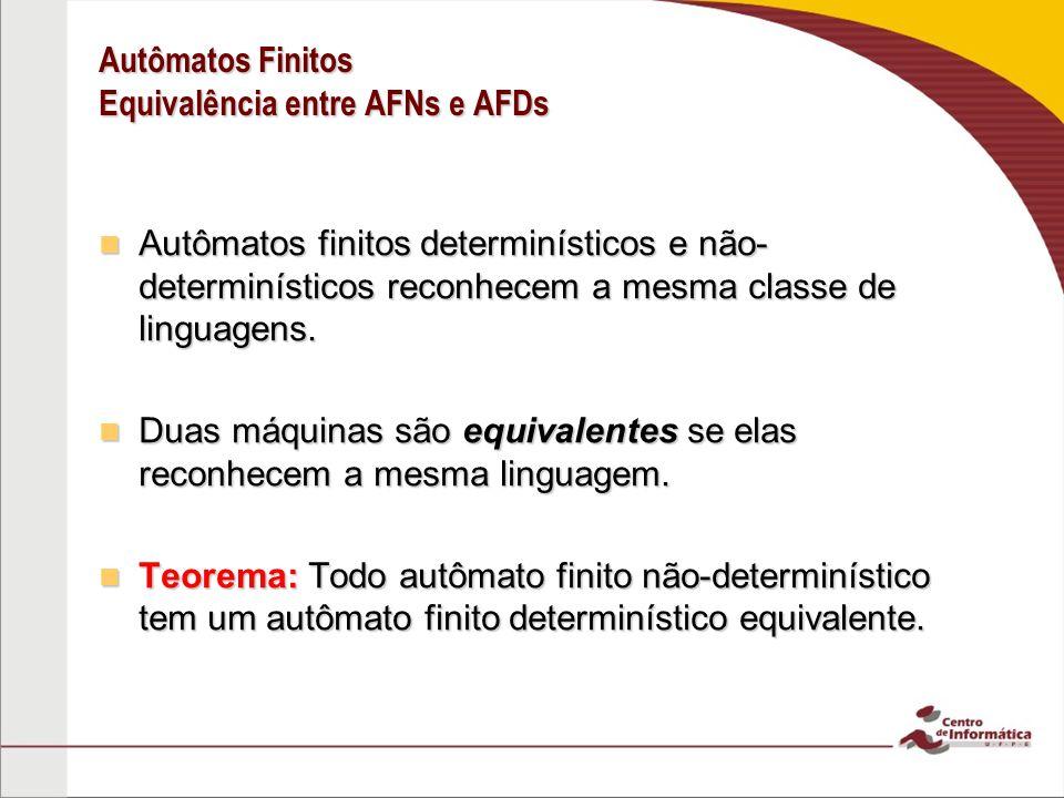 Autômatos Finitos Equivalência entre AFNs e AFDs Autômatos finitos determinísticos e não- determinísticos reconhecem a mesma classe de linguagens. Aut