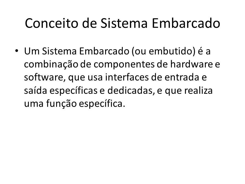 Conceito de Sistema Embarcado Um Sistema Embarcado (ou embutido) é a combinação de componentes de hardware e software, que usa interfaces de entrada e