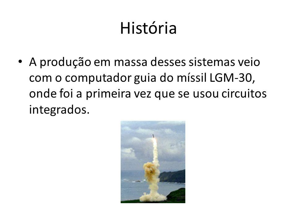 História A produção em massa desses sistemas veio com o computador guia do míssil LGM-30, onde foi a primeira vez que se usou circuitos integrados.
