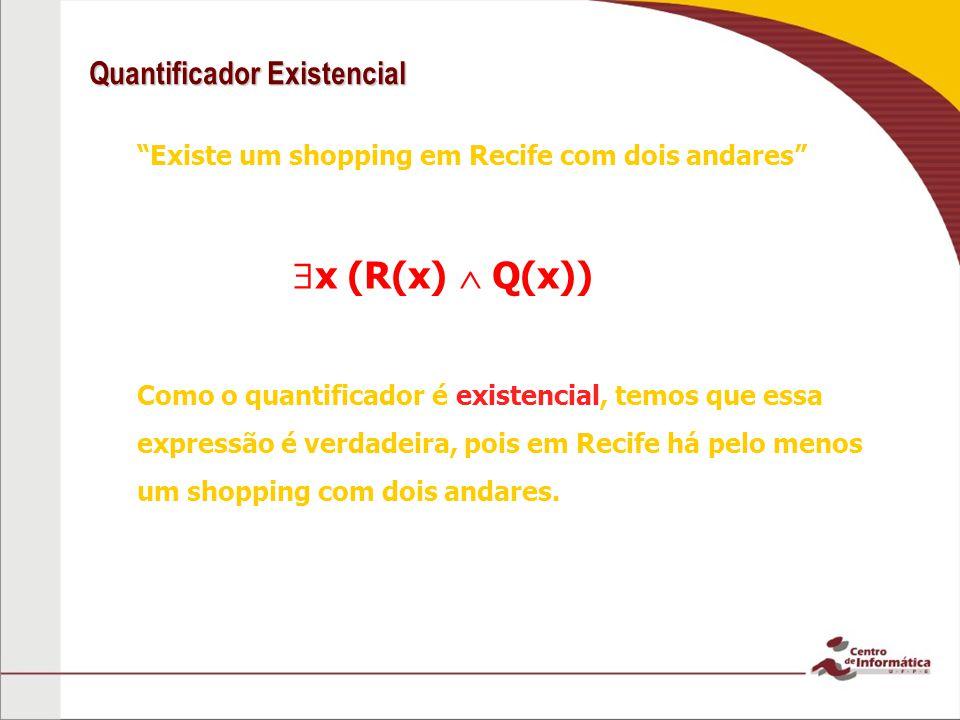 Quantificador Existencial Existe um shopping em Recife com dois andares Como o quantificador é existencial, temos que essa expressão é verdadeira, pois em Recife há pelo menos um shopping com dois andares.