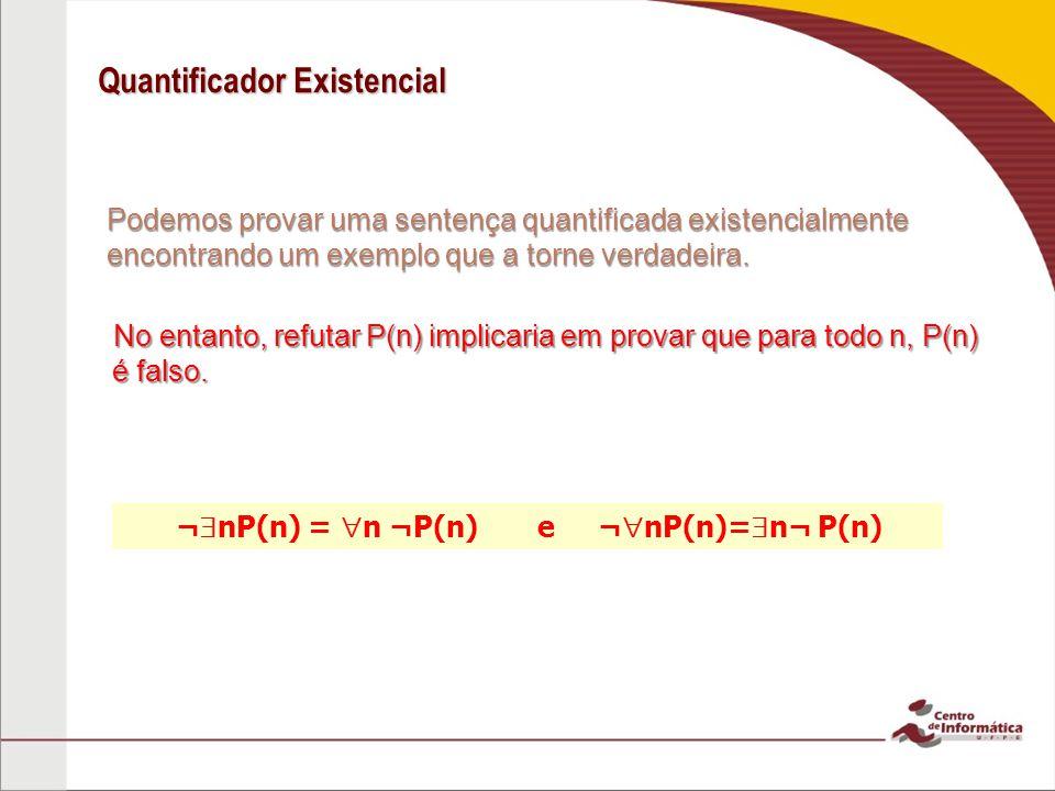 Quantificador Existencial Podemos provar uma sentença quantificada existencialmente encontrando um exemplo que a torne verdadeira.