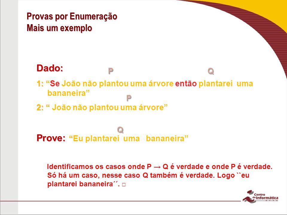 Provas por Enumeração Mais um exemplo Dado: 1: 1: Se João não plantou uma árvore então plantarei uma bananeira 2: 2: João não plantou uma árvore Prove: Prove:Eu plantarei uma bananeira Identificamos os casos onde P Q é verdade e onde P é verdade.