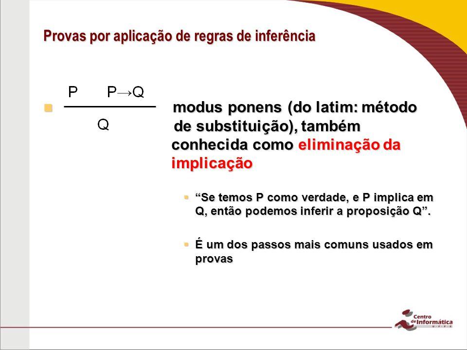 Provas por aplicação de regras de inferência modus ponens (do latim: método de de substituição), também conhecida como eliminação da implicação modus ponens (do latim: método de de substituição), também conhecida como eliminação da implicação Se temos P como verdade, e P implica em Q, então podemos inferir a proposição Q.