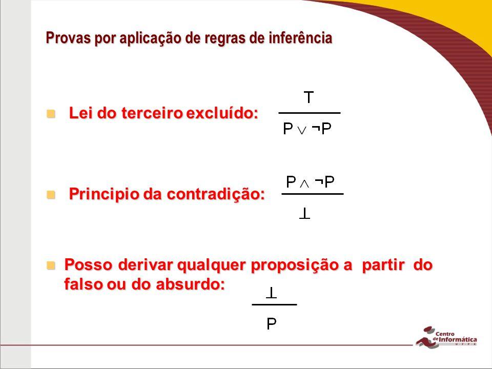 Provas por aplicação de regras de inferência Lei do terceiro excluído: Lei do terceiro excluído: Principio da contradição: Principio da contradição: Posso derivar qualquer proposição a partir do falso ou do absurdo: Posso derivar qualquer proposição a partir do falso ou do absurdo: