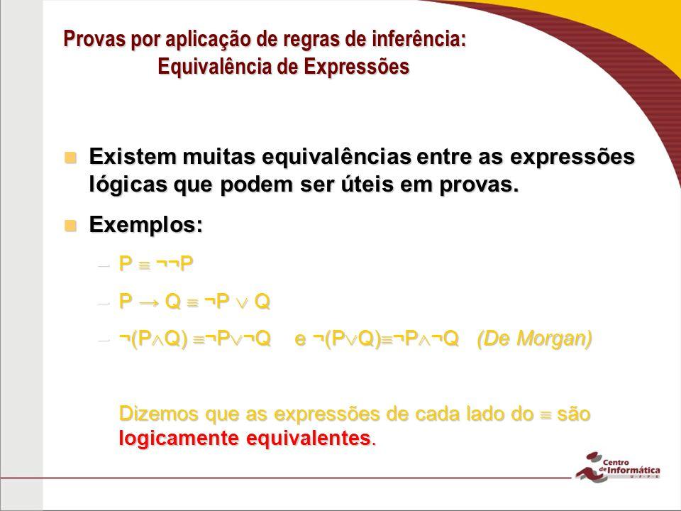 Provas por aplicação de regras de inferência: Equivalência de Expressões Existem muitas equivalências entre as expressões lógicas que podem ser úteis em provas.