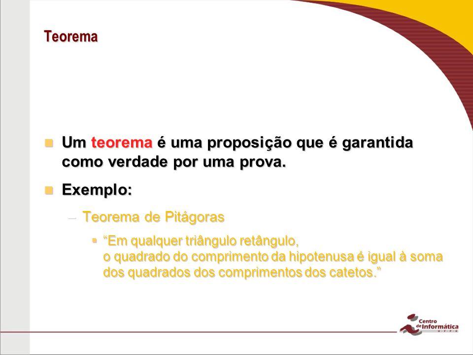 Teorema Um teorema é uma proposição que é garantida como verdade por uma prova.
