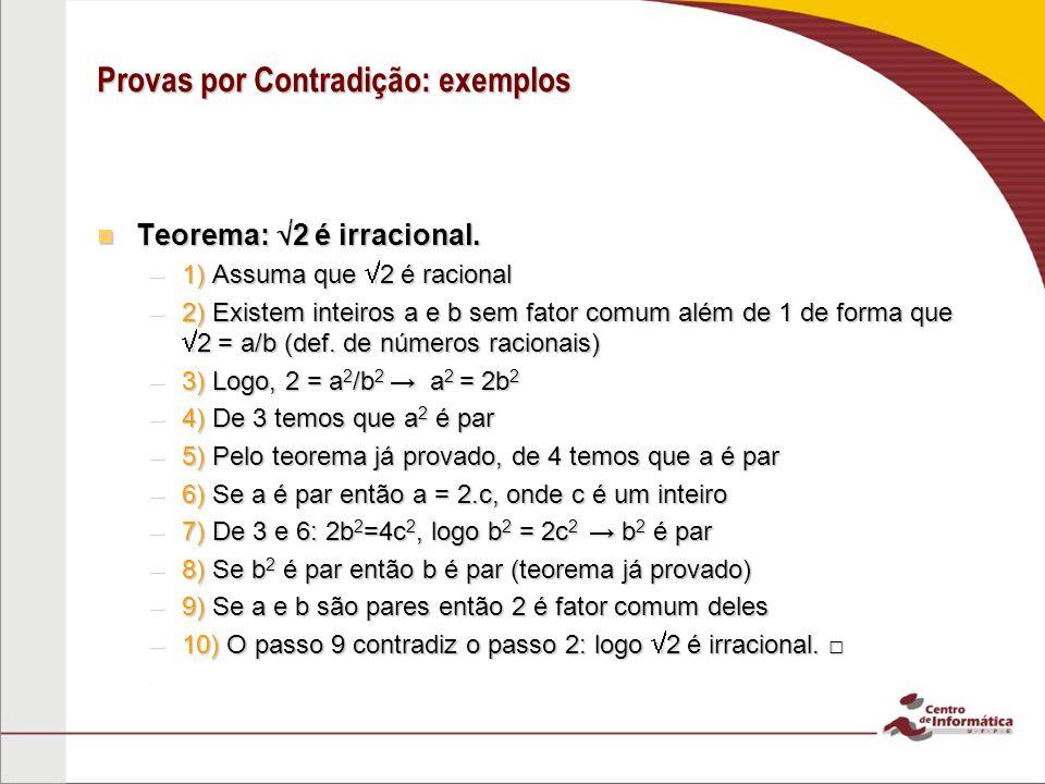 Provas por Contradição: exemplos Teorema: 2 é irracional.