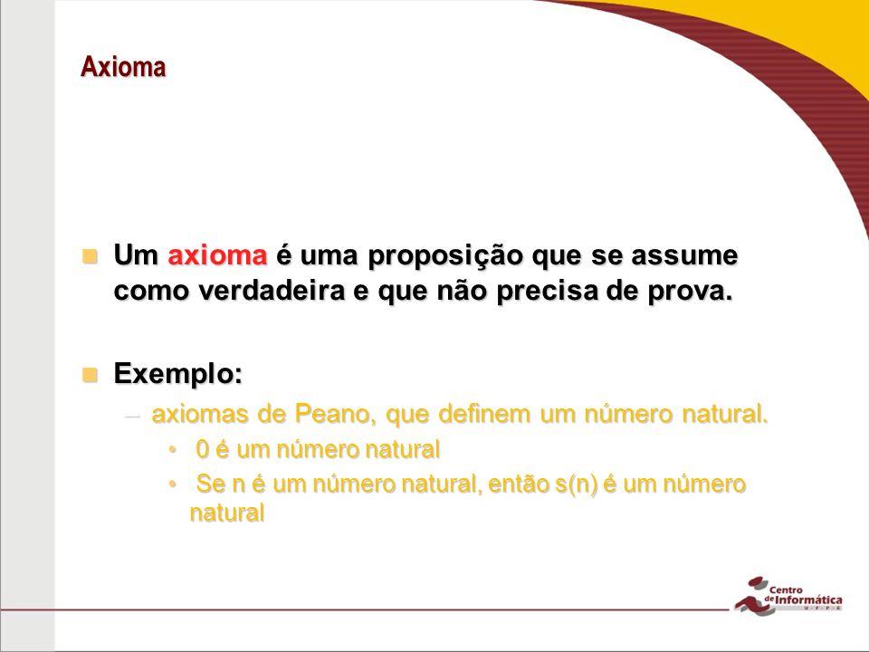 Axioma Um axioma é uma proposição que se assume como verdadeira e que não precisa de prova.