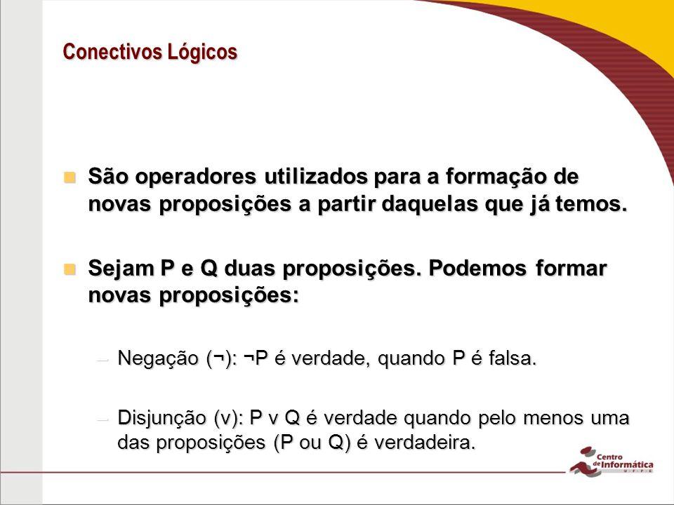 Conectivos Lógicos –Conjunção ( ): P Q é verdade quando ambas as proposições são verdadeiras –Implicação (): P Q é verdade se P é falsa ou Q é verdadeira.