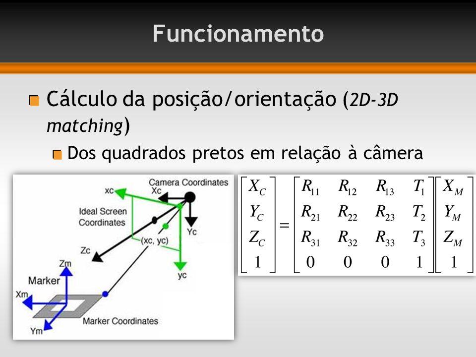 Cálculo da posição/orientação ( 2D-3D matching ) Dos quadrados pretos em relação à câmera