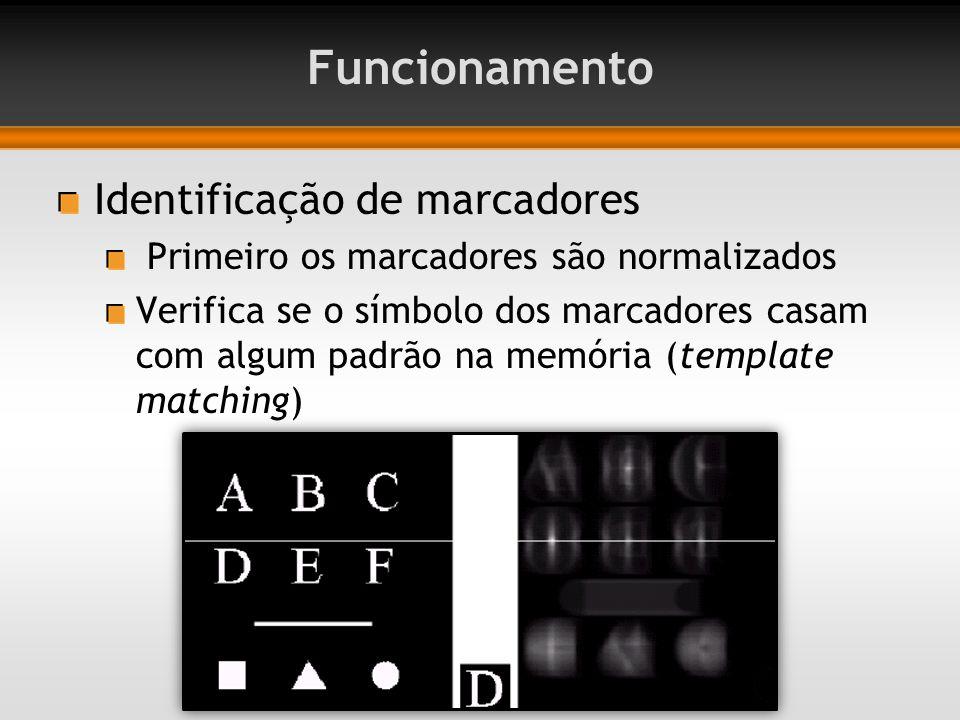 Identificação de marcadores Primeiro os marcadores são normalizados Verifica se o símbolo dos marcadores casam com algum padrão na memória (template matching)