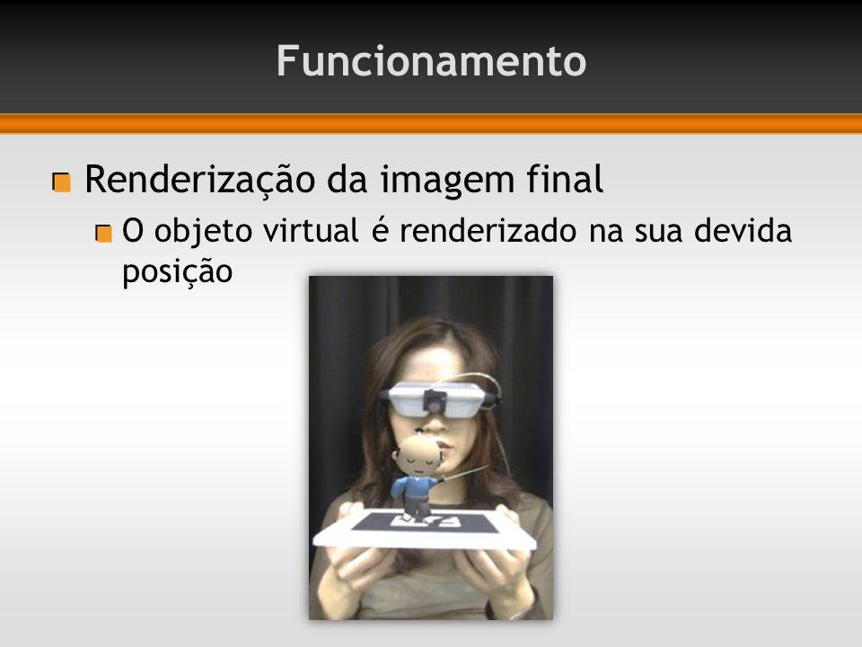 Renderização da imagem final O objeto virtual é renderizado na sua devida posição