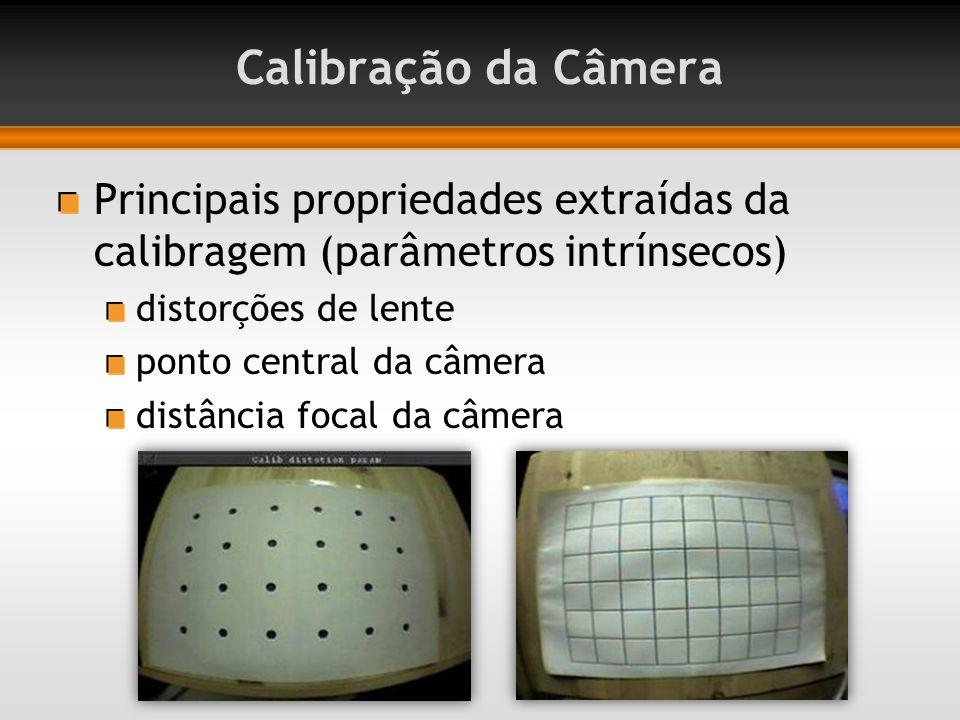 Calibração da Câmera Principais propriedades extraídas da calibragem (parâmetros intrínsecos) distorções de lente ponto central da câmera distância focal da câmera