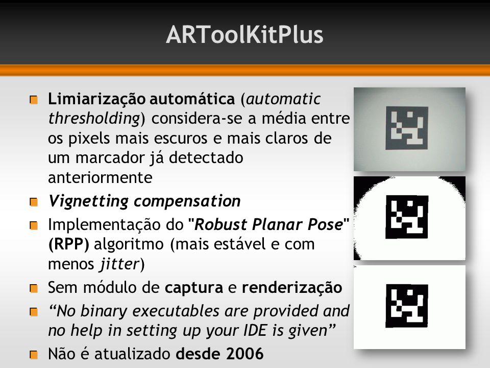 ARToolKitPlus Limiarização automática (automatic thresholding) considera-se a média entre os pixels mais escuros e mais claros de um marcador já detec