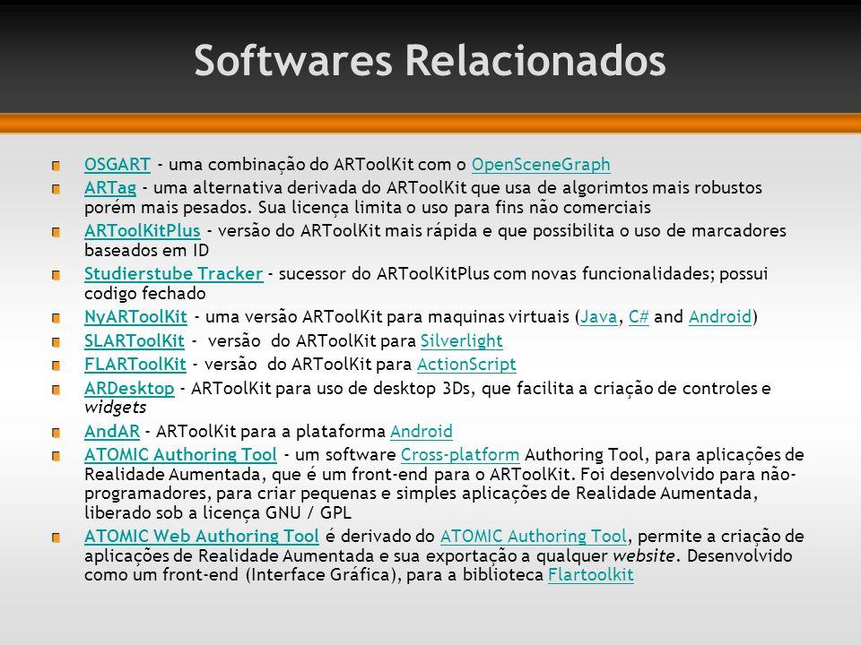Softwares Relacionados OSGARTOSGART - uma combinação do ARToolKit com o OpenSceneGraphOpenSceneGraph ARTagARTag - uma alternativa derivada do ARToolKi