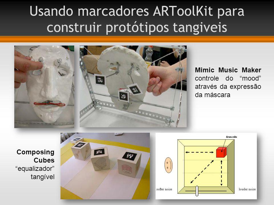 Usando marcadores ARToolKit para construir protótipos tangiveis Mimic Music Maker controle do mood através da expressão da máscara Composing Cubes equalizador tangível