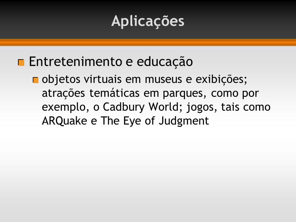 Aplicações Entretenimento e educação objetos virtuais em museus e exibições; atrações temáticas em parques, como por exemplo, o Cadbury World; jogos, tais como ARQuake e The Eye of Judgment