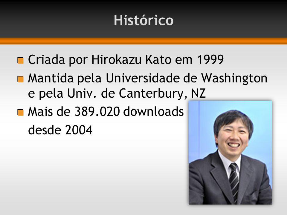 Histórico Criada por Hirokazu Kato em 1999 Mantida pela Universidade de Washington e pela Univ. de Canterbury, NZ Mais de 389.020 downloads desde 2004