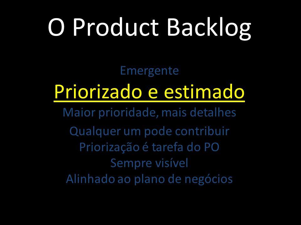 O Product Backlog Emergente Priorizado e estimado Maior prioridade, mais detalhes Qualquer um pode contribuir Priorização é tarefa do PO Sempre visíve