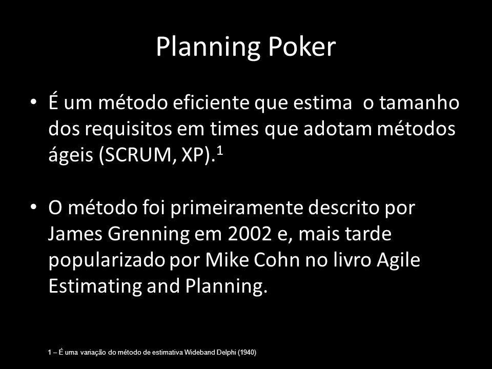 Planning Poker É um método eficiente que estima o tamanho dos requisitos em times que adotam métodos ágeis (SCRUM, XP). 1 O método foi primeiramente d