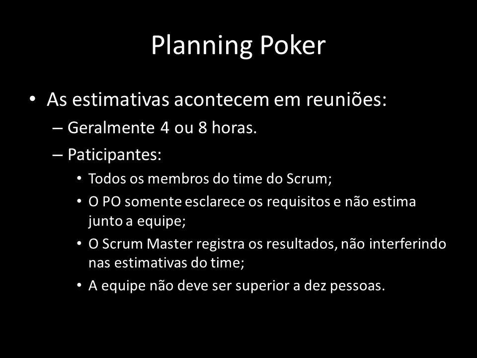 Planning Poker As estimativas acontecem em reuniões: – Geralmente 4 ou 8 horas. – Paticipantes: Todos os membros do time do Scrum; O PO somente esclar