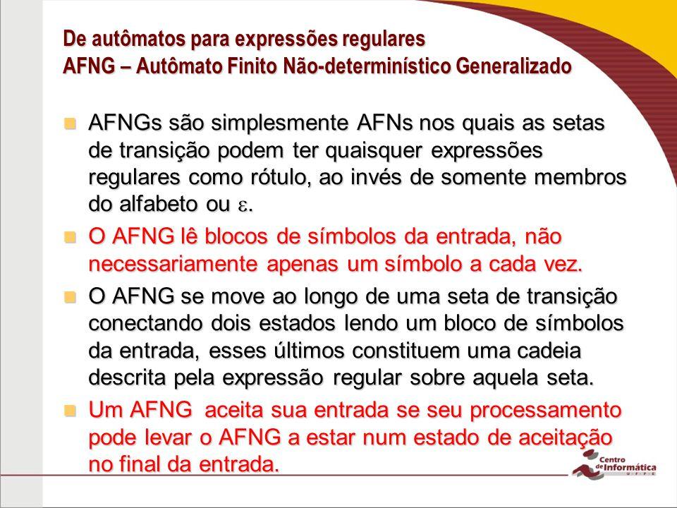 De autômatos para expressões regulares AFNG – Autômato Finito Não-determinístico Generalizado AFNGs são simplesmente AFNs nos quais as setas de transi