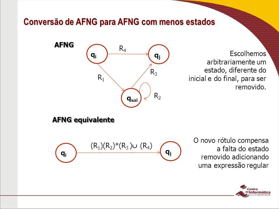 AFNG Conversão de AFNG para AFNG com menos estados qiqi AFNG equivalente Escolhemos arbitrariamente um estado, diferente do inicial e do final, para s