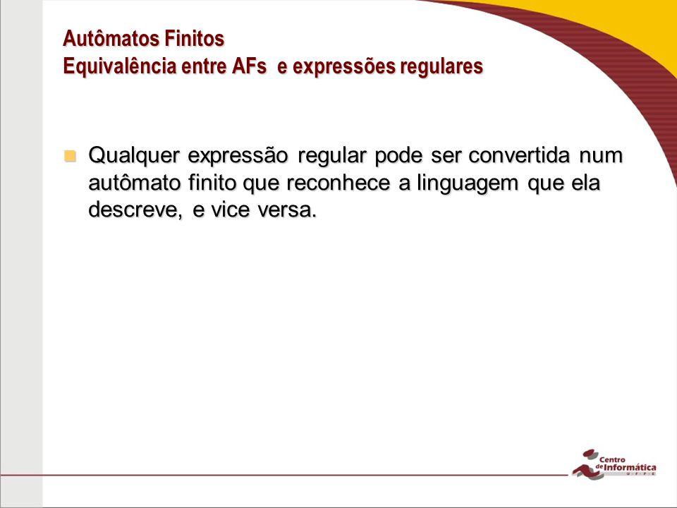 Autômatos Finitos Equivalência entre AFs e expressões regulares Teorema: Uma linguagem é regular se e somente se alguma expressão regular a descreve.