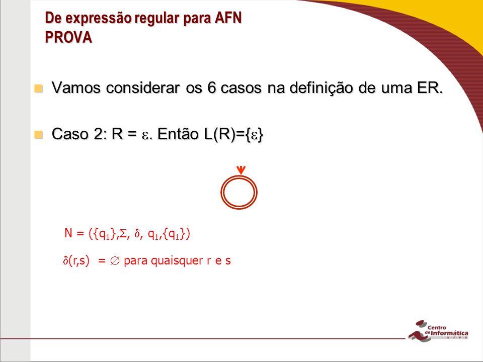 De expressão regular para AFN PROVA Vamos considerar os 6 casos na definição de uma ER. Vamos considerar os 6 casos na definição de uma ER. Caso 2: R
