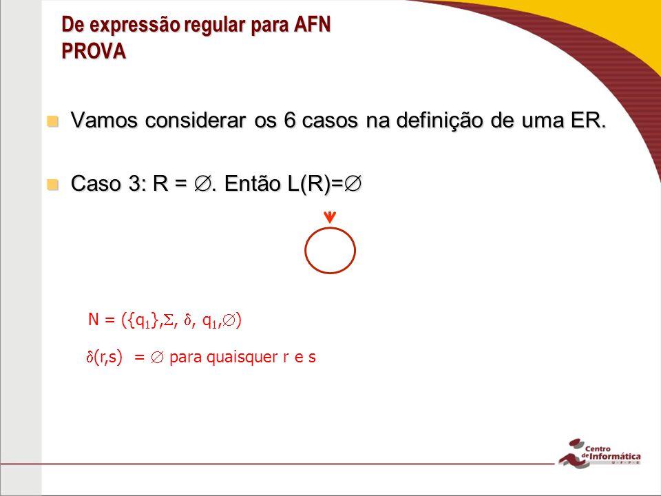 De expressão regular para AFN PROVA Caso 4: R 1 R 2 Caso 4: R 1 R 2 Caso 5: R 1 R 2 Caso 5: R 1 R 2 Caso 6: R* Caso 6: R* Para os três últimos casos usamos as construções dadas nas provas de que a classe de linguagens regulares é fechada sob as operações regulares.