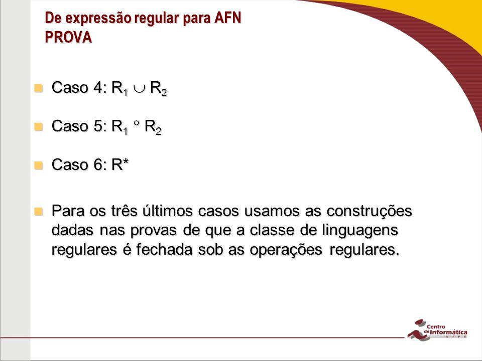 De expressão regular para AFN PROVA Caso 4: R 1 R 2 Caso 4: R 1 R 2 Caso 5: R 1 R 2 Caso 5: R 1 R 2 Caso 6: R* Caso 6: R* Para os três últimos casos u