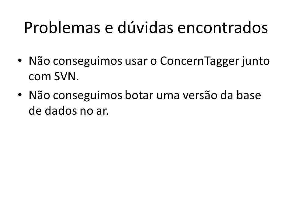 Problemas e dúvidas encontrados Não conseguimos usar o ConcernTagger junto com SVN.