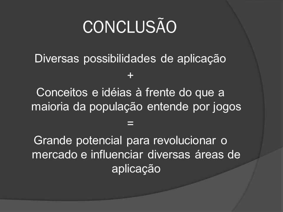 CONCLUSÃO Diversas possibilidades de aplicação + Conceitos e idéias à frente do que a maioria da população entende por jogos = Grande potencial para r