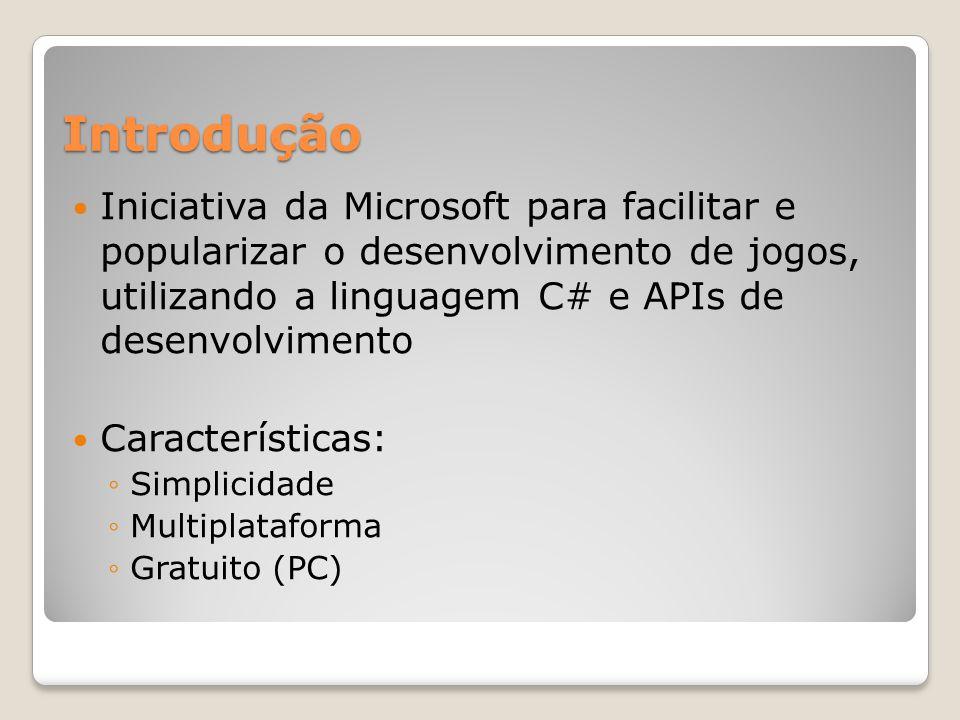 Introdução Iniciativa da Microsoft para facilitar e popularizar o desenvolvimento de jogos, utilizando a linguagem C# e APIs de desenvolvimento Caract
