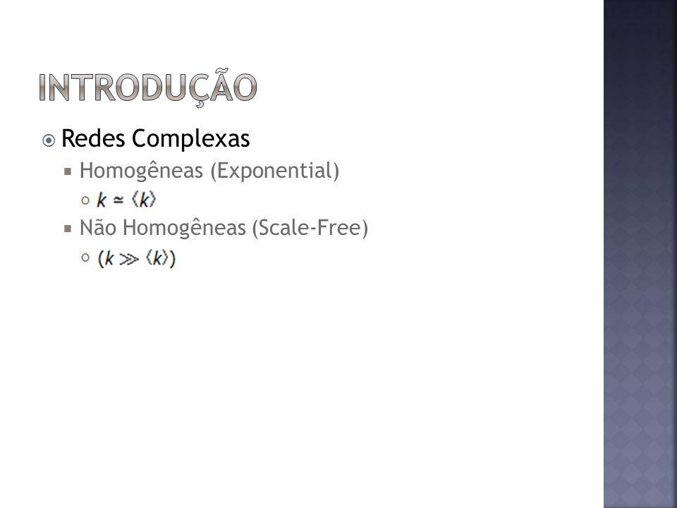Redes Complexas Homogêneas (Exponential) Não Homogêneas (Scale-Free)