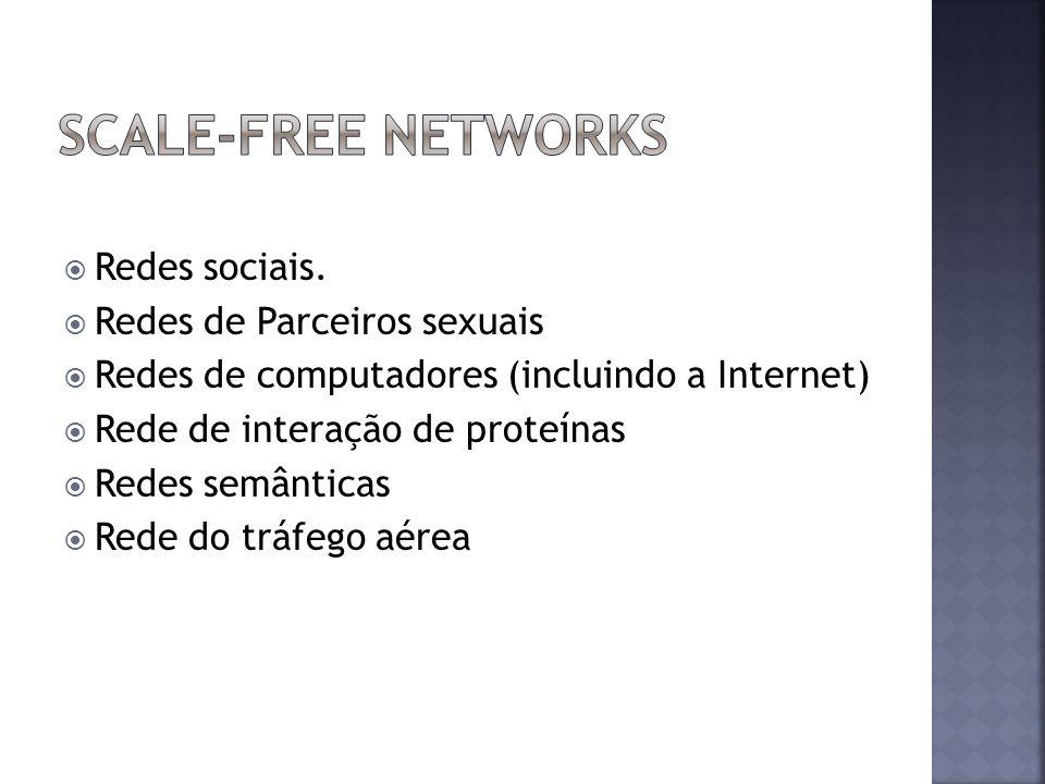Redes sociais. Redes de Parceiros sexuais Redes de computadores (incluindo a Internet) Rede de interação de proteínas Redes semânticas Rede do tráfego