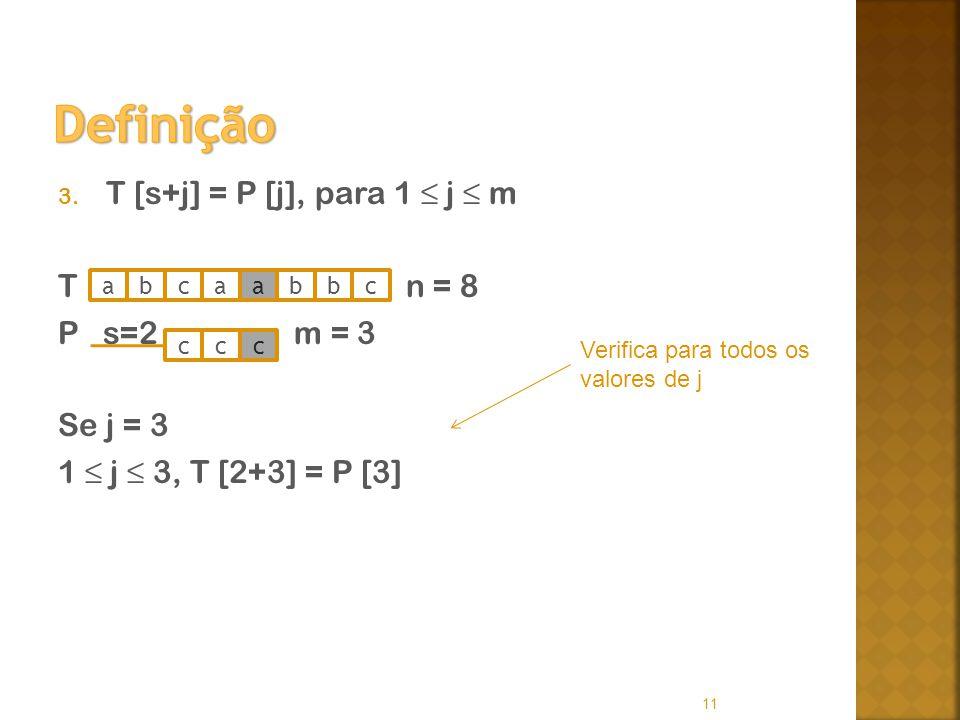 3. T [s+j] = P [j], para 1 j m T n = 8 P s=2 m = 3 Se j = 3 1 j 3, T [2+3] = P [3] 11 abcaabbc ccc Verifica para todos os valores de j