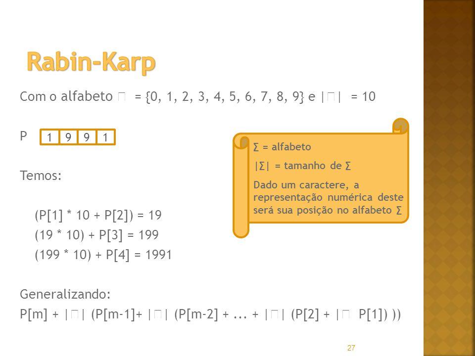 Com o alfabeto = {0, 1, 2, 3, 4, 5, 6, 7, 8, 9} e | | = 10 P Temos: (P[1] * 10 + P[2]) = 19 (19 * 10) + P[3] = 199 (199 * 10) + P[4] = 1991 Generalizando: P[m] + | | (P[m-1]+ | | (P[m-2] +...