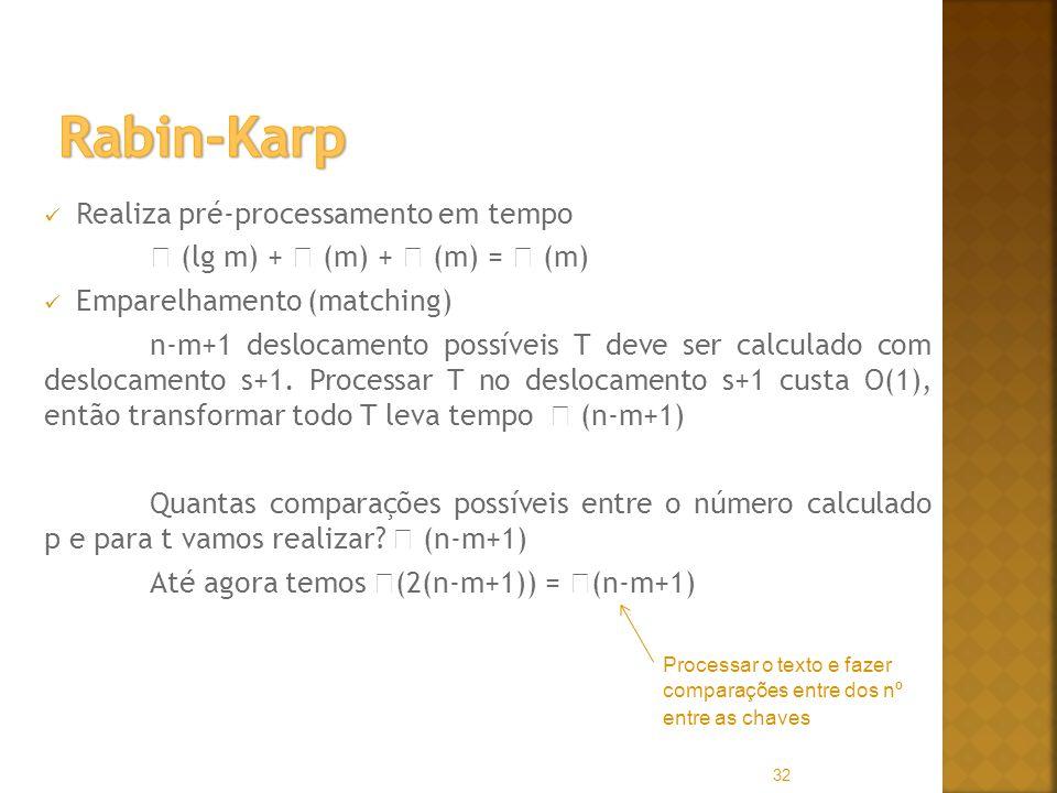 Realiza pré-processamento em tempo (lg m) + (m) + (m) = (m) Emparelhamento (matching) n-m+1 deslocamento possíveis T deve ser calculado com deslocamento s+1.