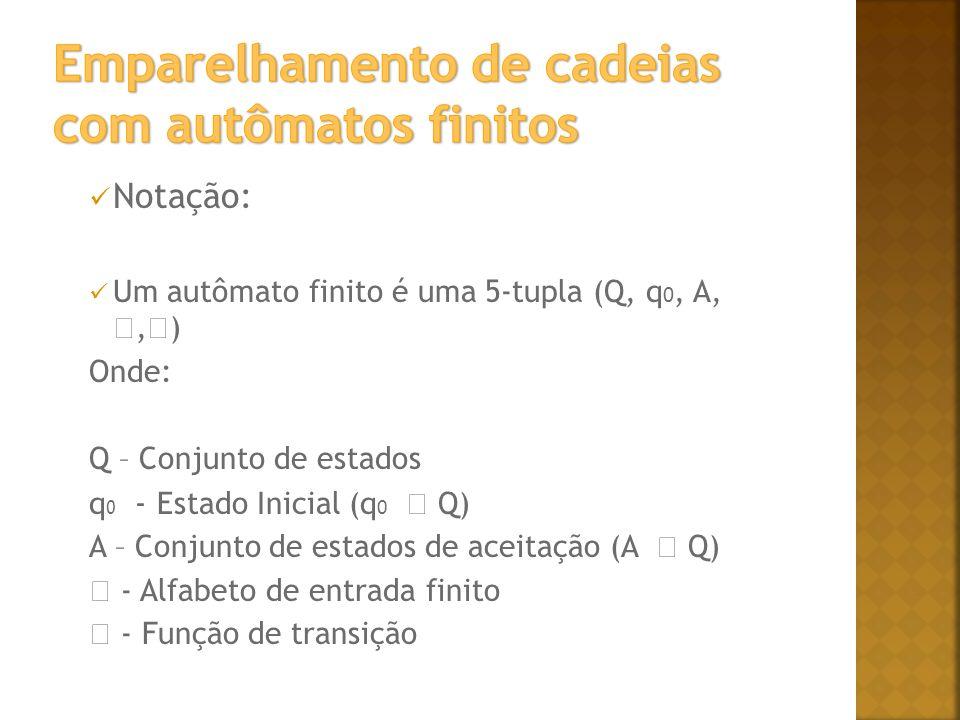 Notação: Um autômato finito é uma 5-tupla (Q, q 0, A,, ) Onde: Q – Conjunto de estados q 0 - Estado Inicial (q 0 Q) A – Conjunto de estados de aceitação (A Q) - Alfabeto de entrada finito - Função de transição
