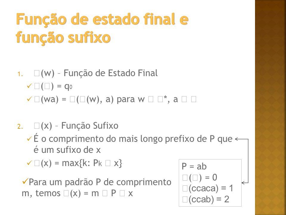 1. (w) – Função de Estado Final ( ) = q 0 (wa) = ( (w), a) para w *, a 2. (x) – Função Sufixo É o comprimento do mais longo prefixo de P que é um sufi