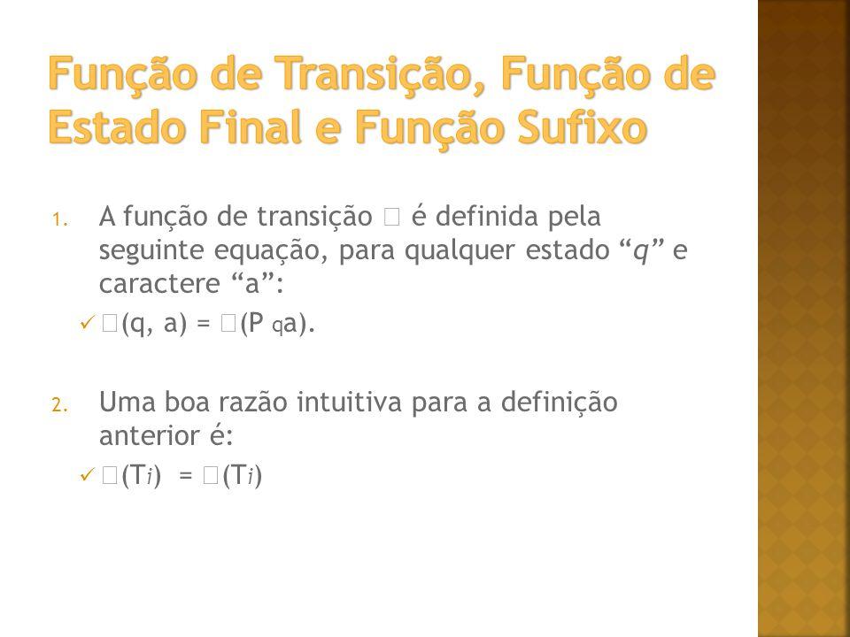 1. A função de transição é definida pela seguinte equação, para qualquer estado q e caractere a: (q, a) = (P q a). 2. Uma boa razão intuitiva para a d